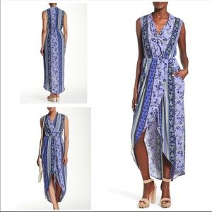 ASTR The Label Purple Floral Maxi Wrap Dress